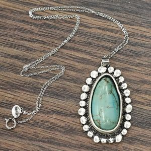 NWT Sterling Silver Chain Necklace with Turquoise